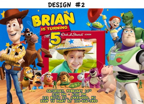 toy story birthday party invitations custom photo