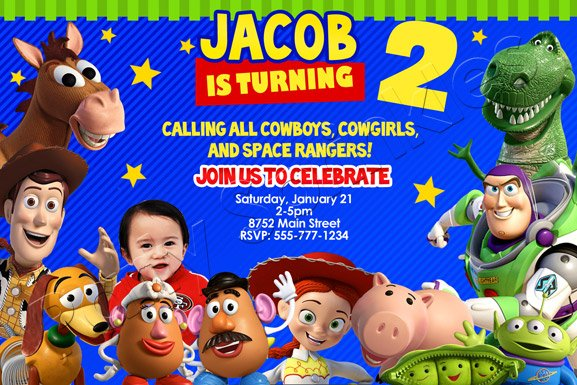 toy story birthday party photo invitations