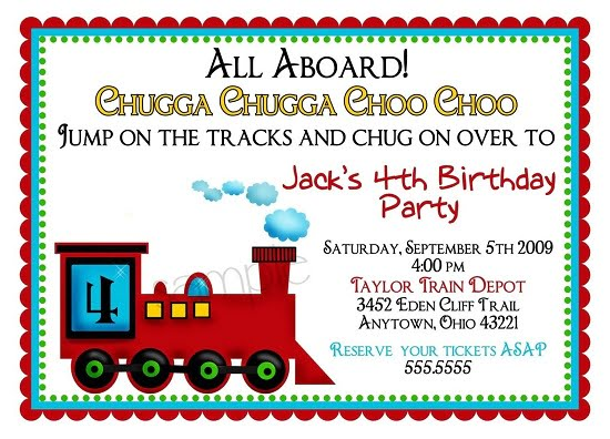 Train 4th Birthday Party Invitations