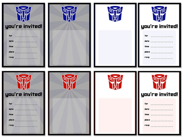 Transformers Birthday Invitations Ideas – Bagvania FREE ...