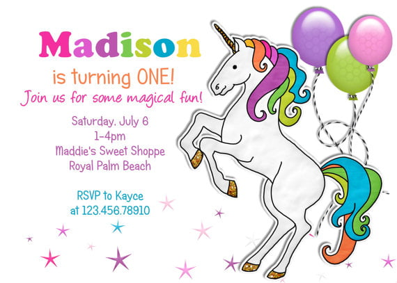 Unicorn First Birthday Invitations