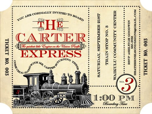 vintage train digital birthday invitations