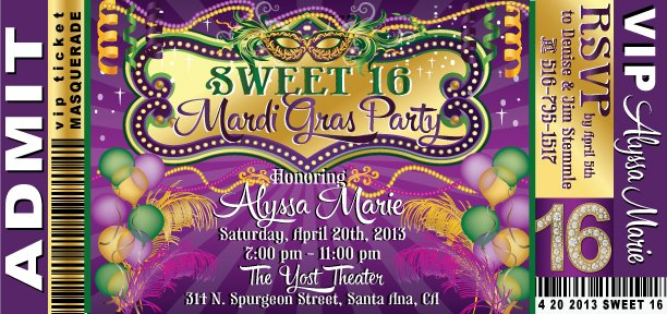 Vip Mardi Gras Birthday Invitations Sweet 16th