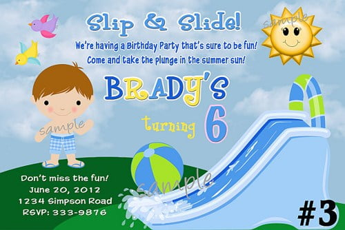 Water Slide Birthday Invitations Boys