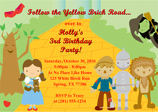 wizard of oz birthday party invitations ideas  bagvania, Birthday card