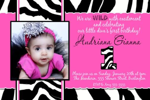 Zebra And Pink Birthday Invitations Ideas Bagvania FREE – Pink 1st Birthday Invitations