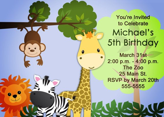 Zoo 5th Birthday Invitations