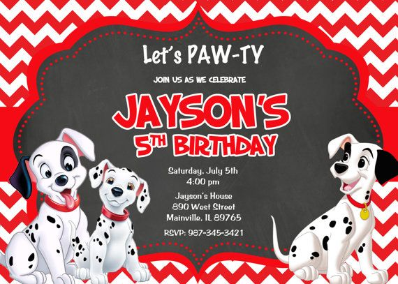 101 Dalmatians card Birthday Party Invitation Ideas