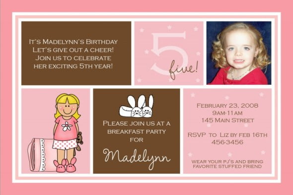 5th Birthday Invitation Wording Ideas For Girl