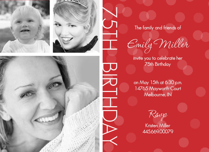 75th birthday invitations ideas for her