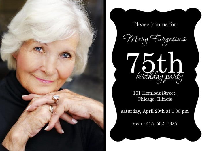 75th Birthday Invitations Ideas Wording Free Printable