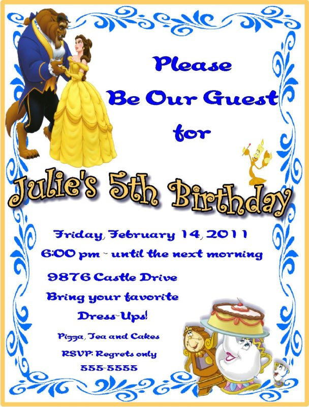 Beauty and the beast birthday party invitation ideas bagvania beauty and the beast 5th birthday party invitation ideas stopboris