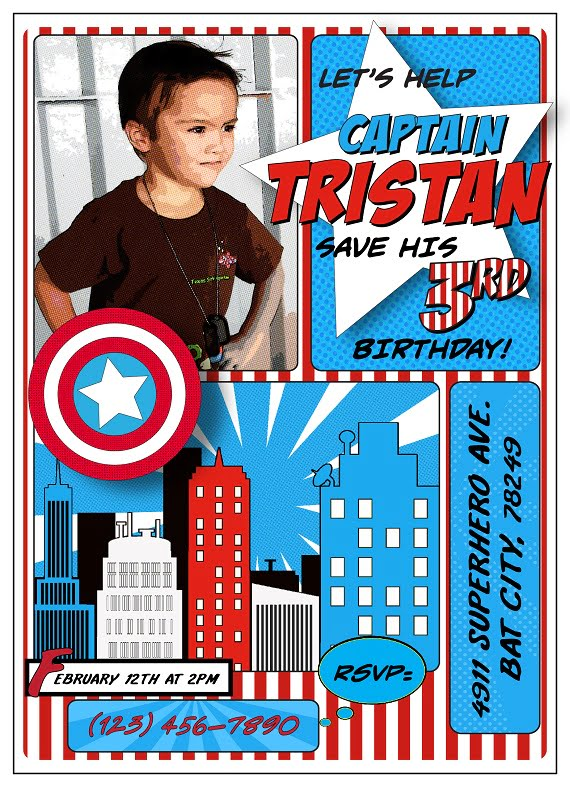 Captain America Birthday Party Invitation Ideas Bagvania