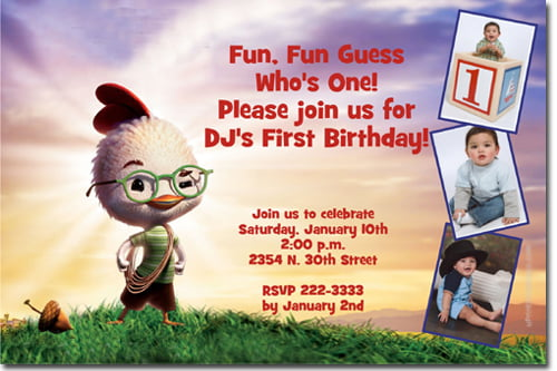 Custom photo Chicken Little Birthday Party Invitation Ideas