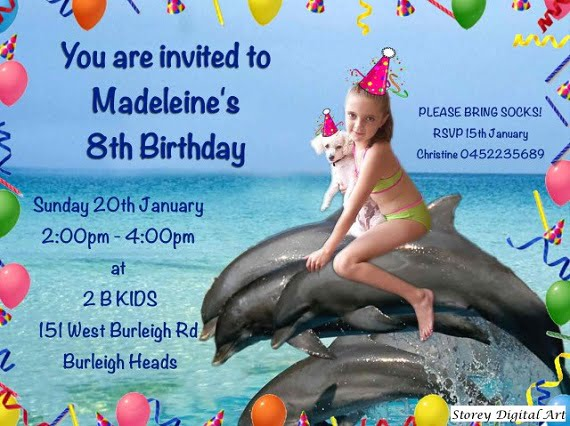 Custom photo Dolphin Birthday Party Invitation Ideas