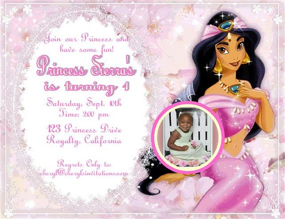 Custom Photo Princess Jasmine Birthday Party Invitation Ideas