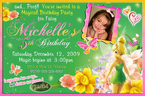 Custom photo Tinker Bell Birthday party invitation ideas