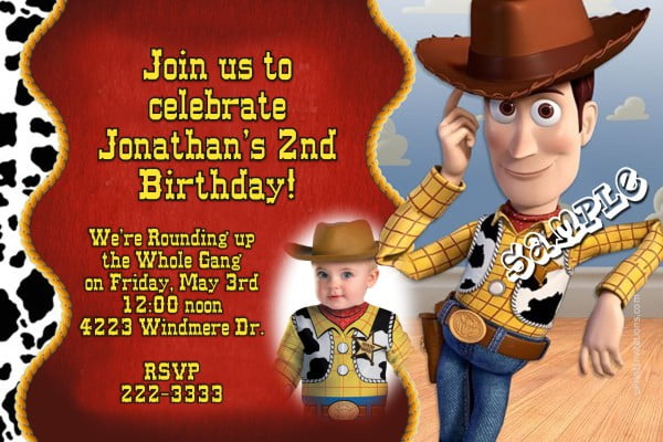 Custom photo Woody Birthday Party Invitation Ideas
