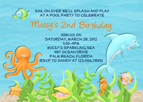 Dolphin Birthday 2nd Party Invitation Ideas