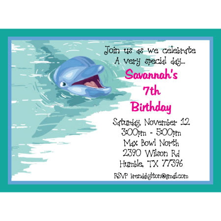 Dolphin Birthday Party Invitation Ideas for girl