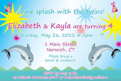 Dolphin Birthday Party Invitation Ideas for twin