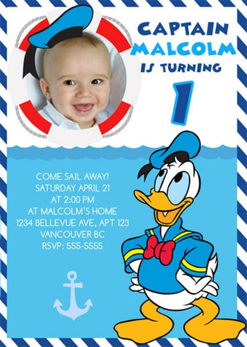 Donald Duck 1st Birthday Party Invitation Ideas