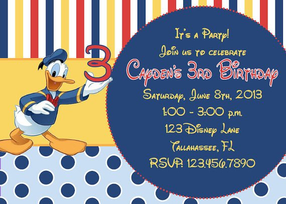 Donald Duck 3rd Birthday Party Invitation Ideas