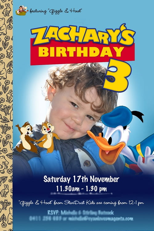 Donald Duck Birthday Party Invitation Ideas for girl