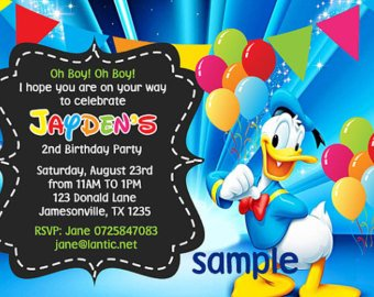 Donald Duck Birthday Party Invitation Ideas sample
