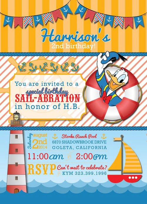 Donald Duck nautical Birthday Party Invitation Ideas