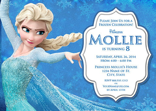 Elsa Frozen Birthday Party Invitation Ideas wording