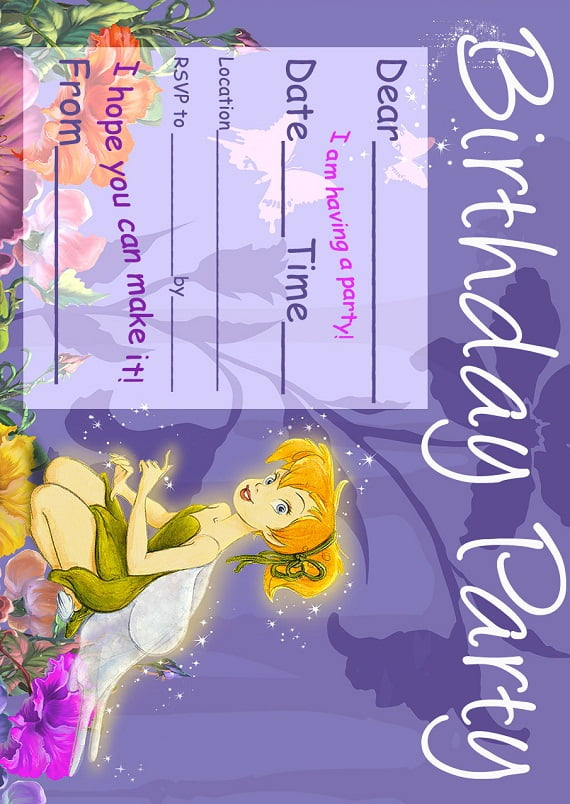 Free printable  Tinker Bell Birthday party invitation ideas