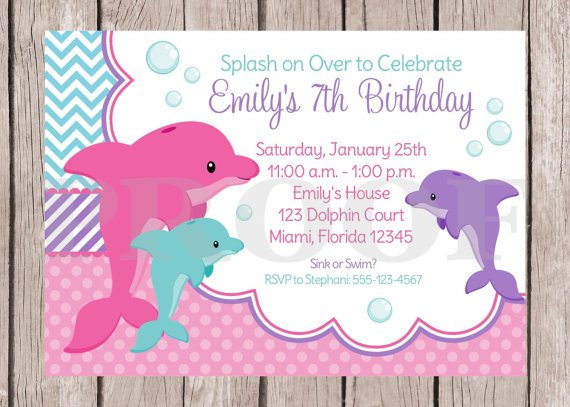 Pink Dolphin Birthday Party Invitation Ideas