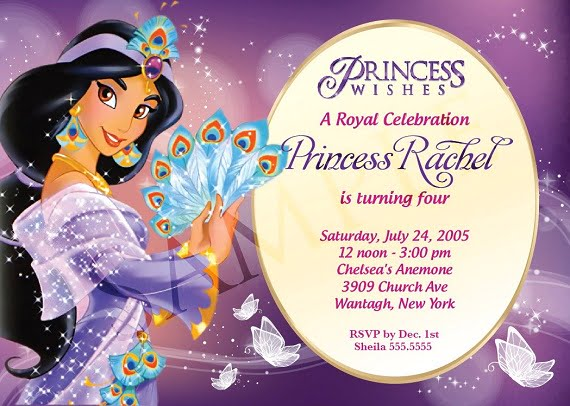 Princess Jasmine Birthday Party Invitation Ideas for girl