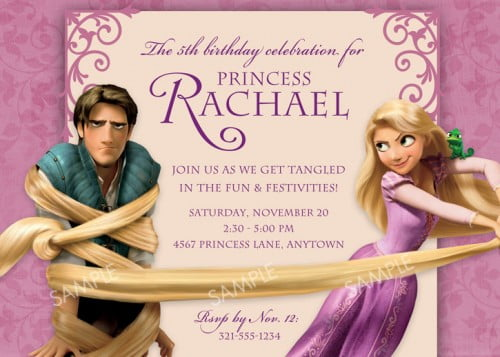 Rapunzel Birthday Party Invitation Ideas wording