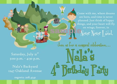 Peter pan birthday party invitation ideas bagvania free for Peter pan invitation template