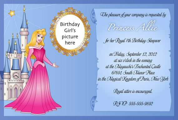 Sleeping Beauty Birthday Party Invitation Ideas For Girl Princess Aurora