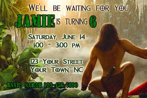 Tarzan Birthday Party Invitation Ideas for boy