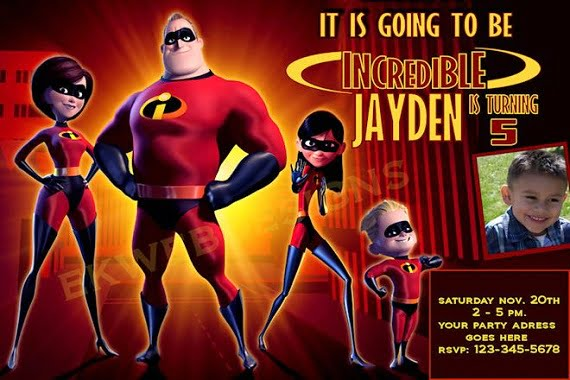 The Incredibles Birthday Party Invitation Ideas for boy