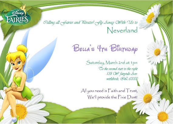Tinker Bell Birthday party invitation ideas for girl