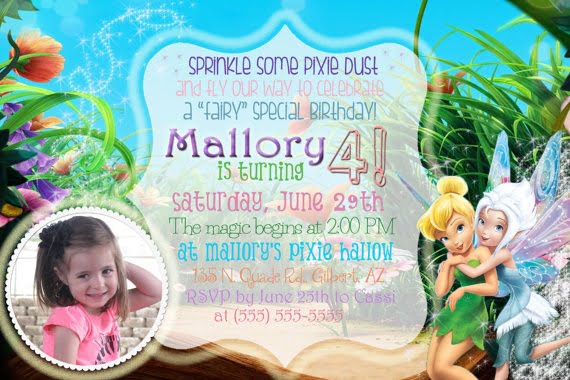 Tinker Bell Birthday party invitation ideas template