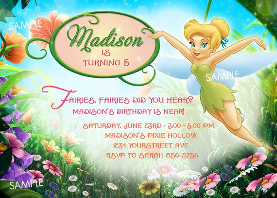 Tinker Bell Birthday party invitation ideas wording