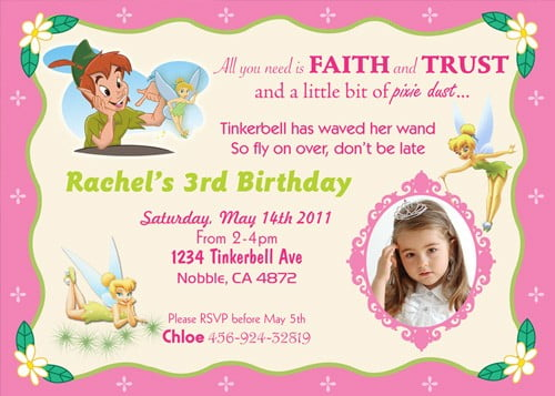 Tinker Bell and Peter Pan Birthday party invitation ideas