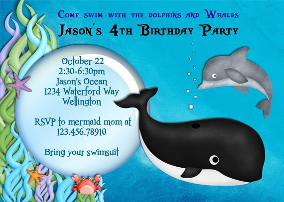 Whale and Dolphin Birthday Party Invitation Ideas