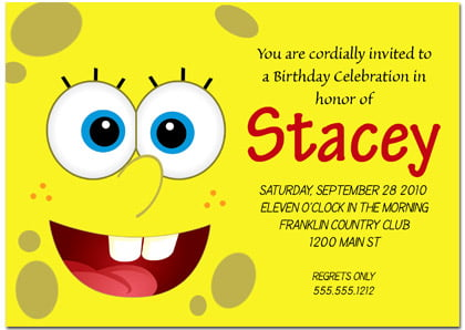 how to write a Spongebob birthday invitation