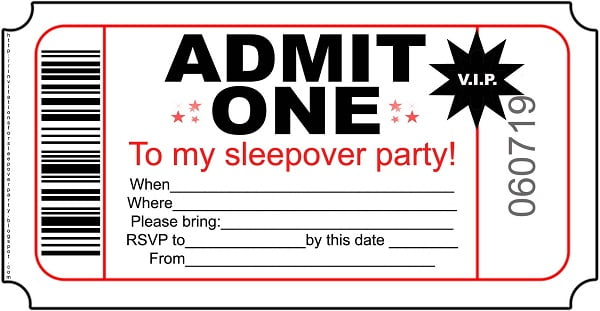 printable birthday invitations for girls slumber party