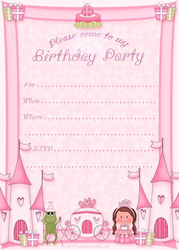 printable princess birthday invitations for girls