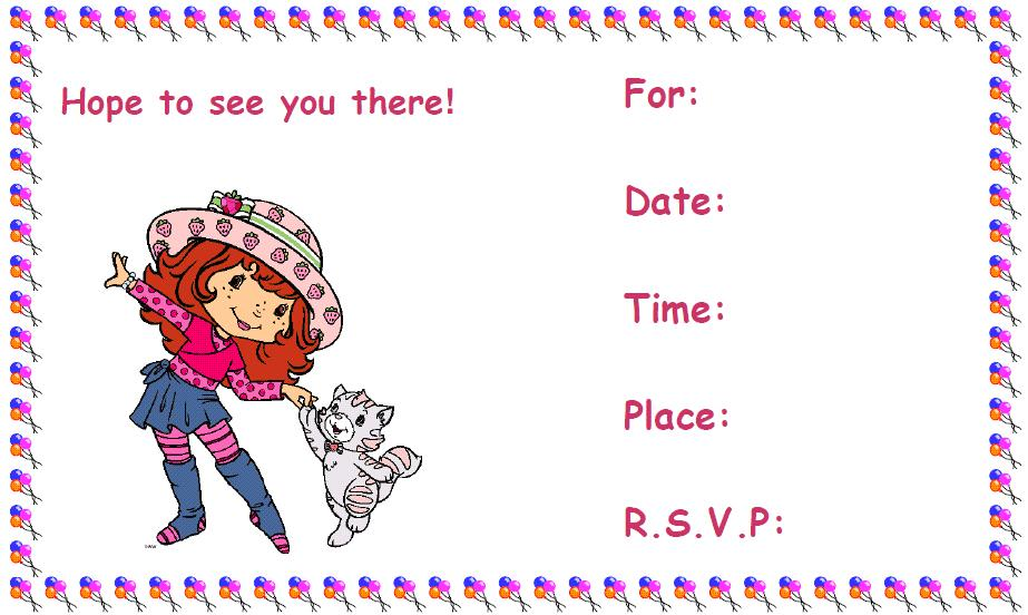 printable strawberry birthday invitations for girls