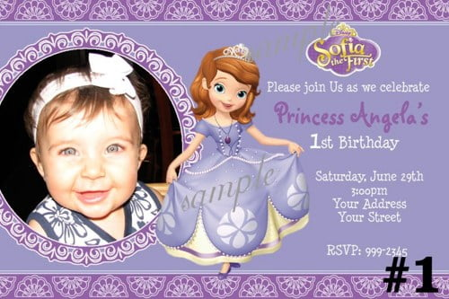 1st Princess Sofia Birthday Invitations