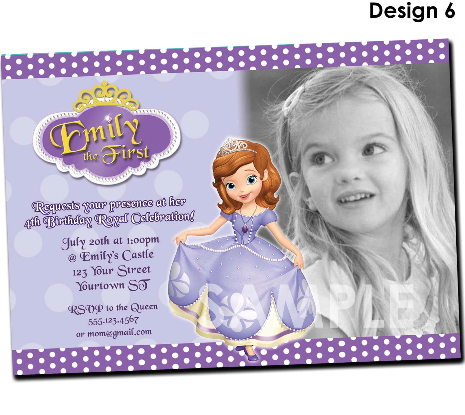 4th Princess Sofia Birthday Invitations